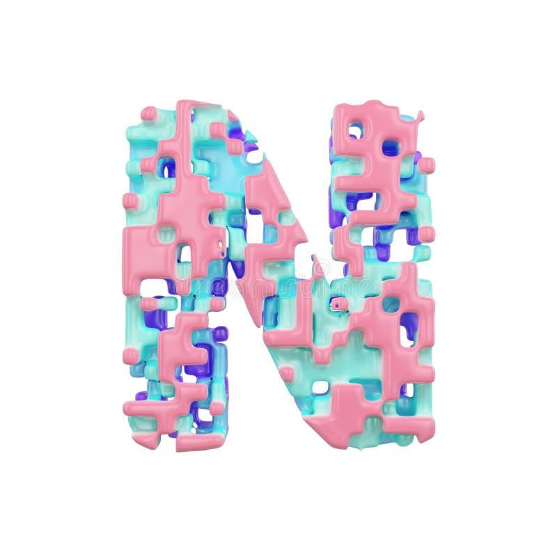 字母表字母N大写 几何字体由立方体块做成 3d在空白背景回报查出 向量例证