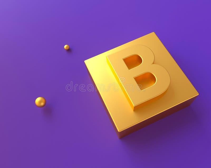 字母表字法概念 3D现实的金子回报 皇族释放例证