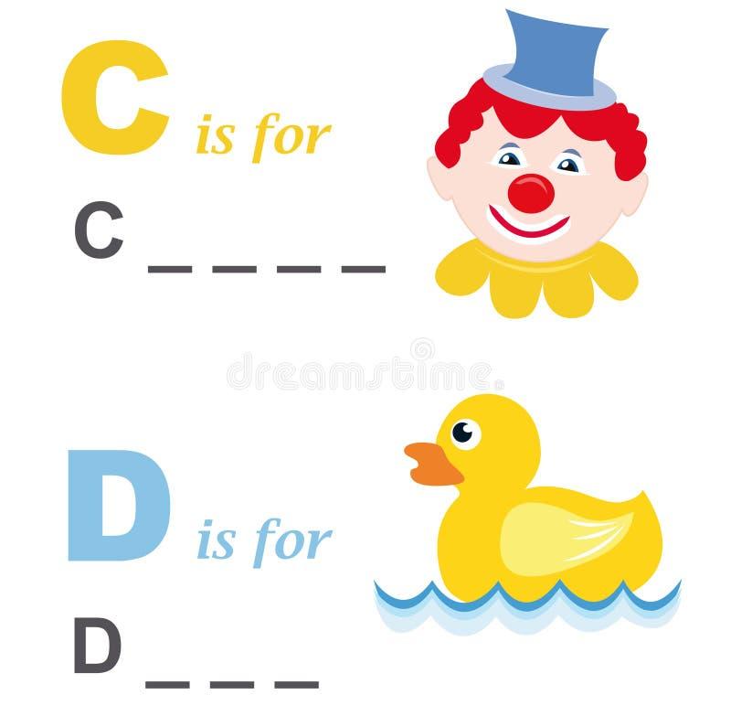 字母表小丑鸭子比赛字 库存例证