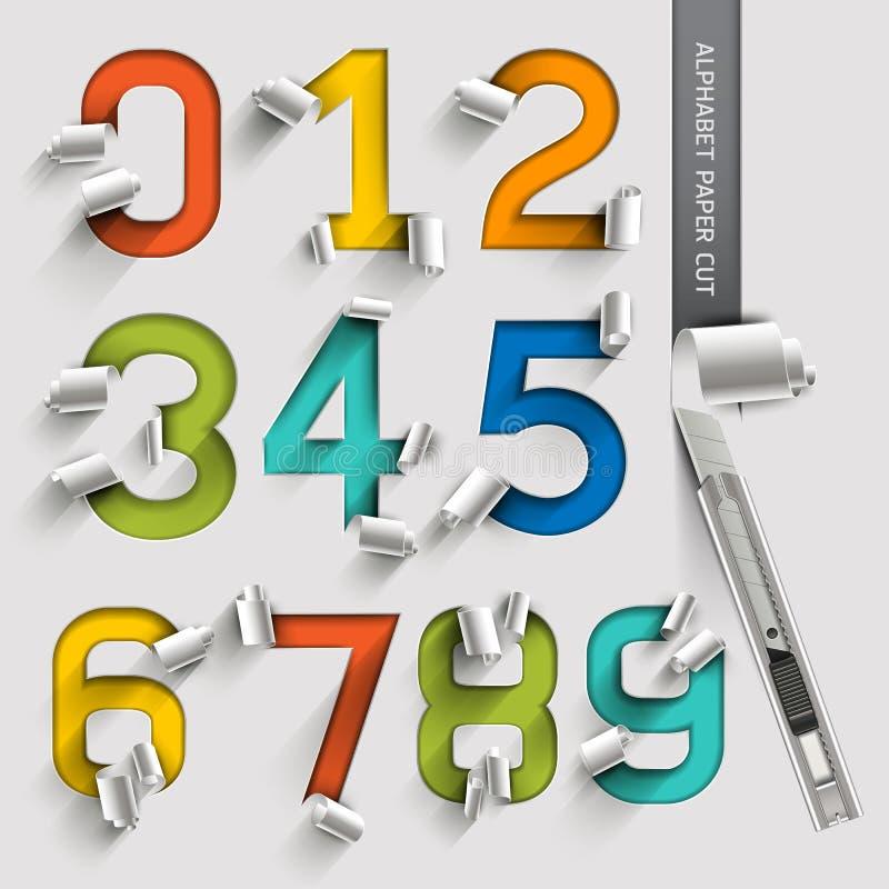 字母表数字纸被切开的五颜六色的字体 皇族释放例证
