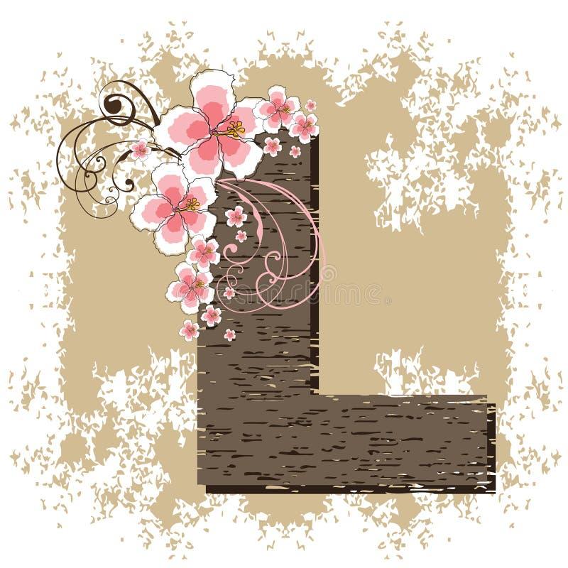 字母表木槿l粉红色 向量例证
