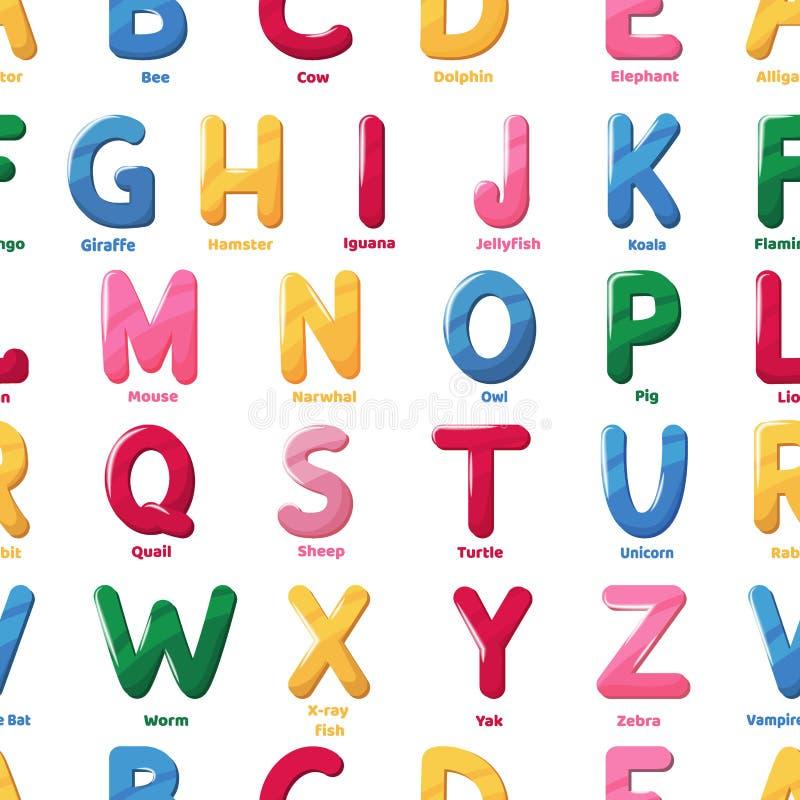 字母表样式动画片信件传染媒介吸收贴墙纸文本动物名字字体印刷术无缝的背景例证 向量例证