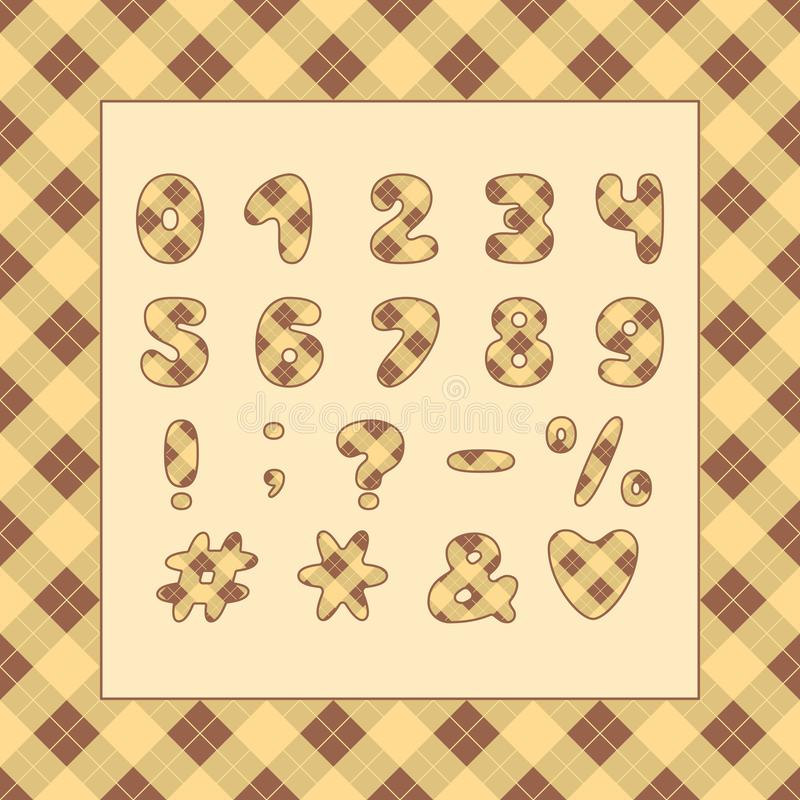 字母表格子花呢披肩样式设计 数字和标点符号 10 eps 库存例证