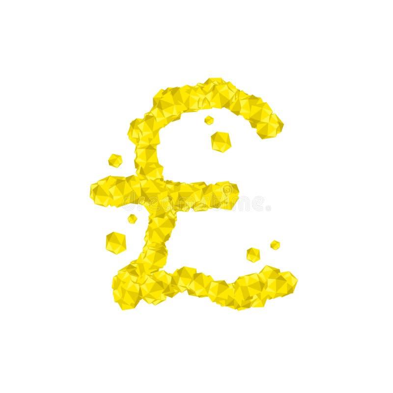 字母表水晶金刚石3D真正集合货币GBP英镑标志例证 库存例证