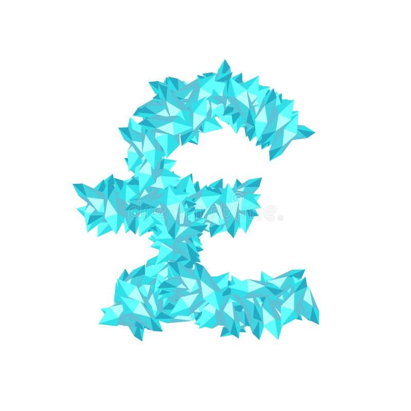 字母表水晶金刚石3D真正集合货币GBP英镑标志例证 皇族释放例证