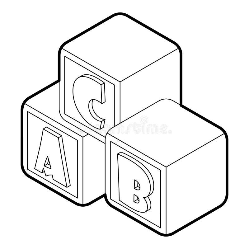 字母表求立方与信件A, B, C象 向量例证