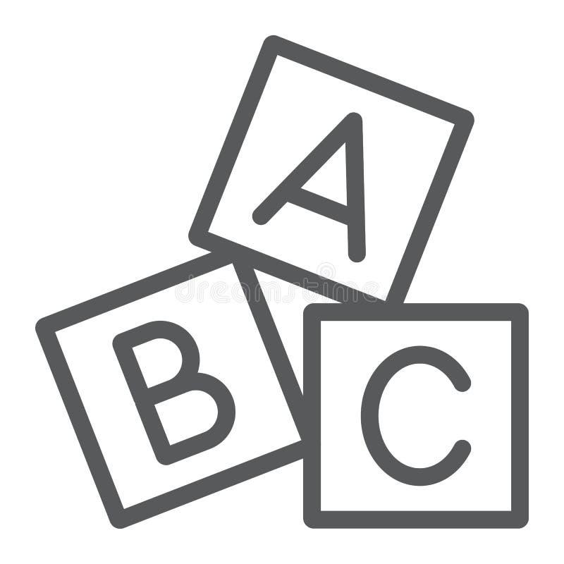 字母表求线象、abc和玩具,块标志,向量图形,在白色背景的一个线性样式的立方 向量例证