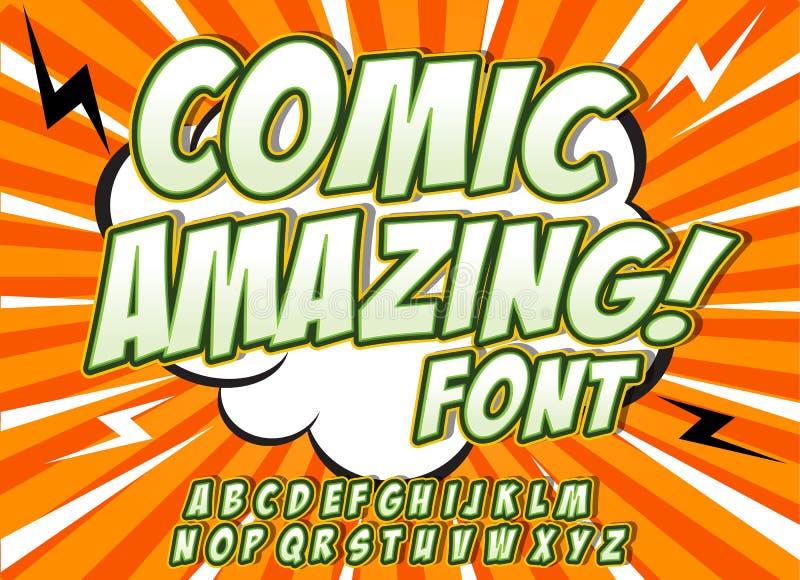 字母表汇集集合 可笑的流行艺术样式 信件、数字和图孩子的例证的,书 向量例证