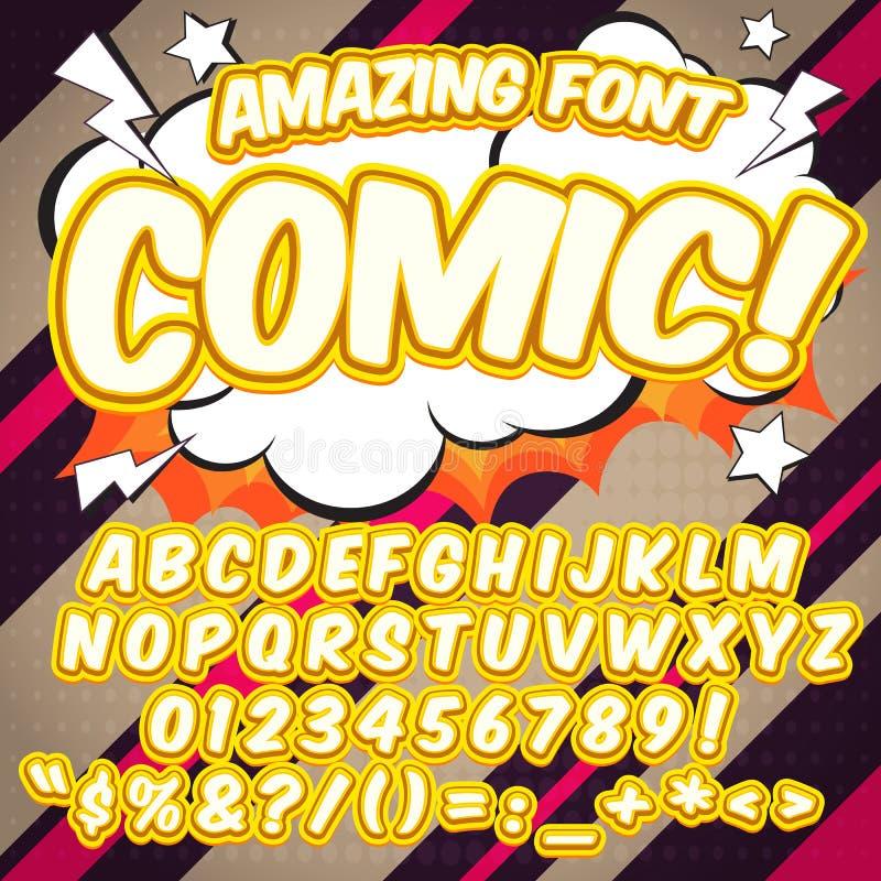 字母表汇集集合 可笑的流行艺术样式 信件、数字和图孩子的例证的,漫画书 库存例证