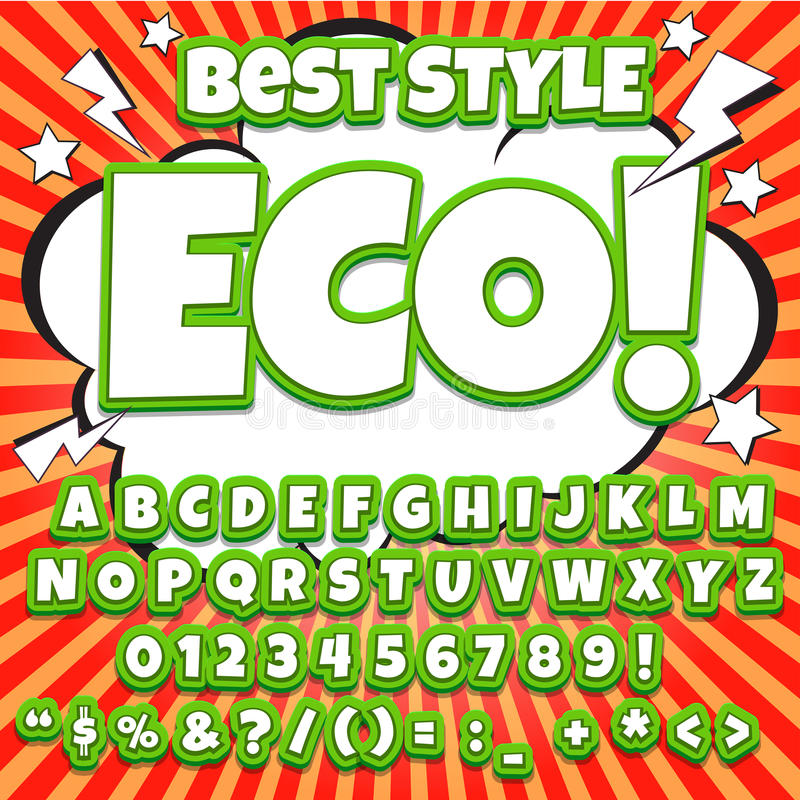 字母表汇集集合 可笑的流行艺术样式 信件、数字和图孩子的例证的,网站,可笑 皇族释放例证