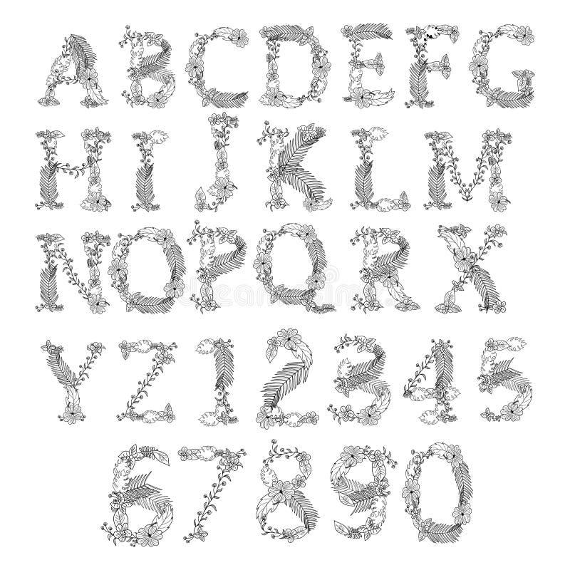 字母表汇集 被设置的减速火箭的棕榈信件 皇族释放例证