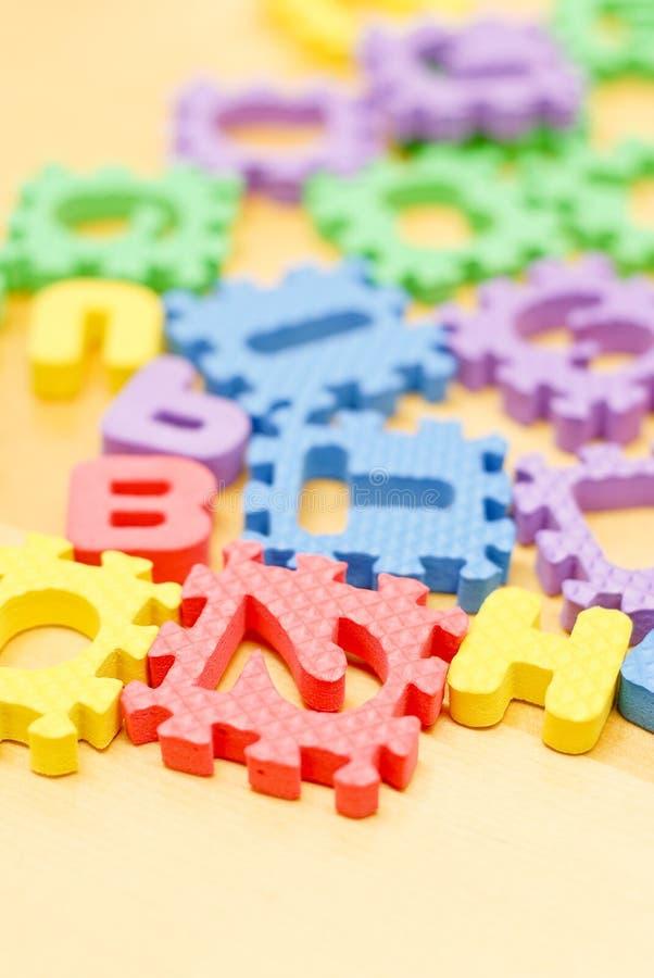 字母表泡沫玩具 库存照片