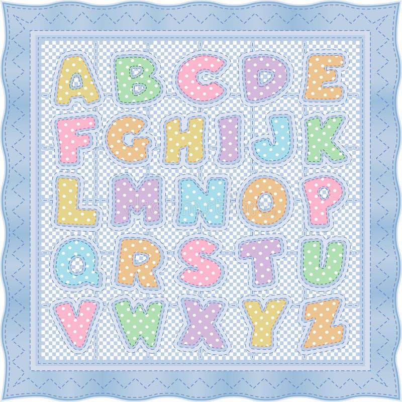 字母表浅蓝色柔和的淡色彩被子 向量例证