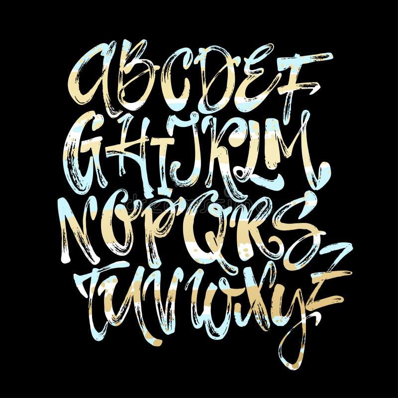 字母表海报,干燥刷子墨水艺术性的现代书法印刷品 皇族释放例证