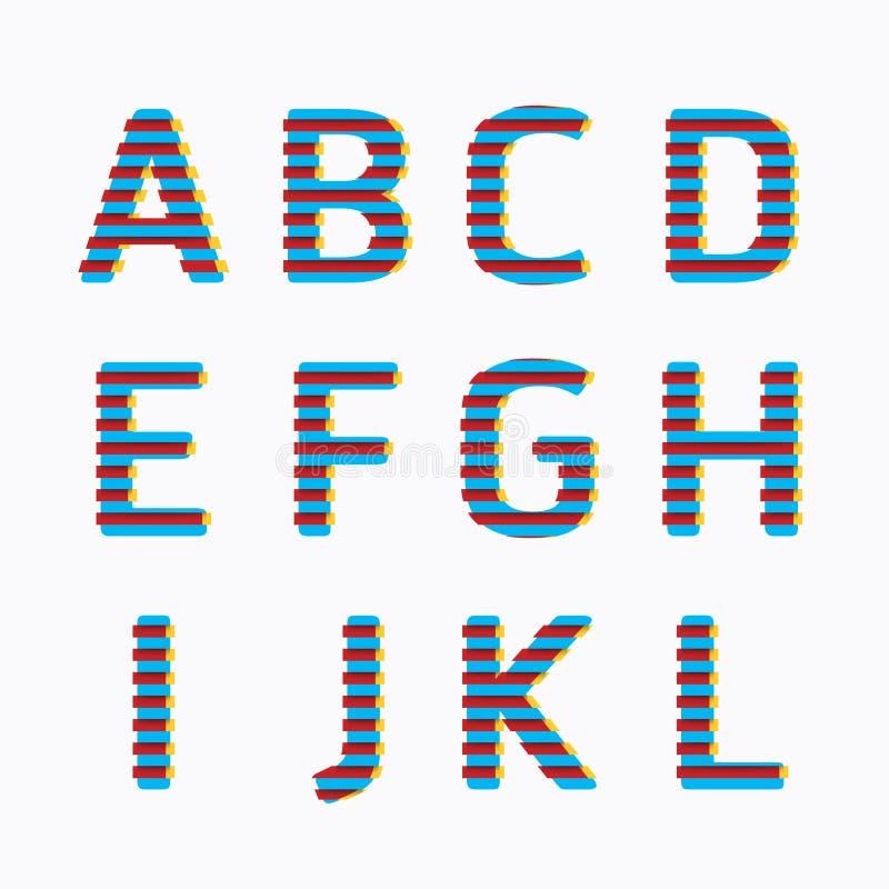 字母表现代纸线颜色概念样式设计。传染媒介 库存例证
