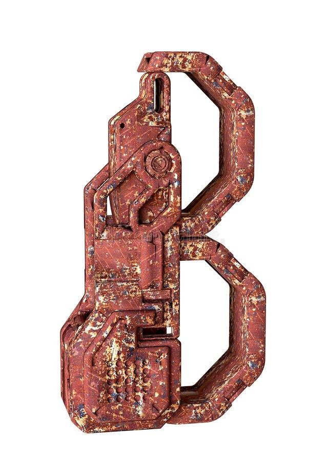 字母表的信件B,印刷术修建与年迈的铁的机械部分 3D Rendereing 皇族释放例证