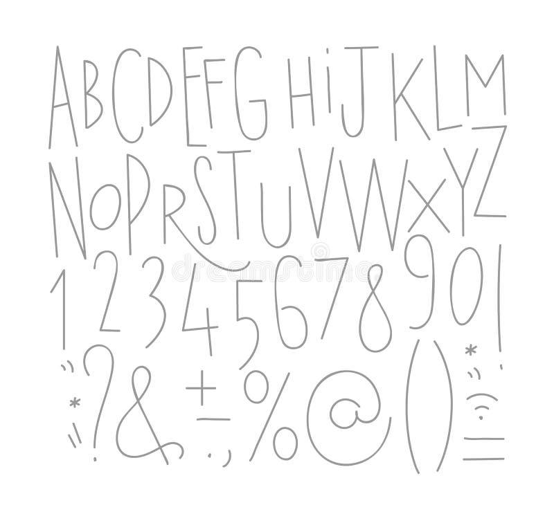 在葡萄酒样式图画的字母表集合直线字体与在白色背景的灰色线 独自一图片