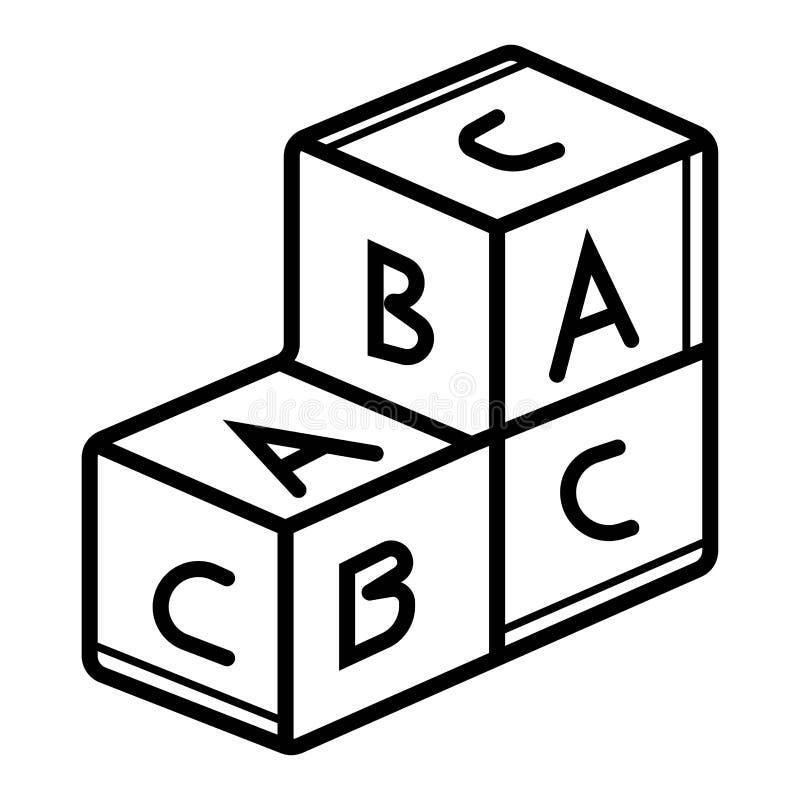 字母表立方体象传染媒介 库存例证