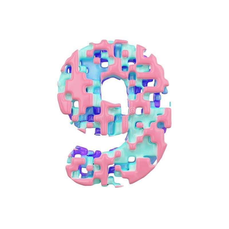 字母表第9 几何字体由立方体块做成 3d在空白背景回报查出 向量例证