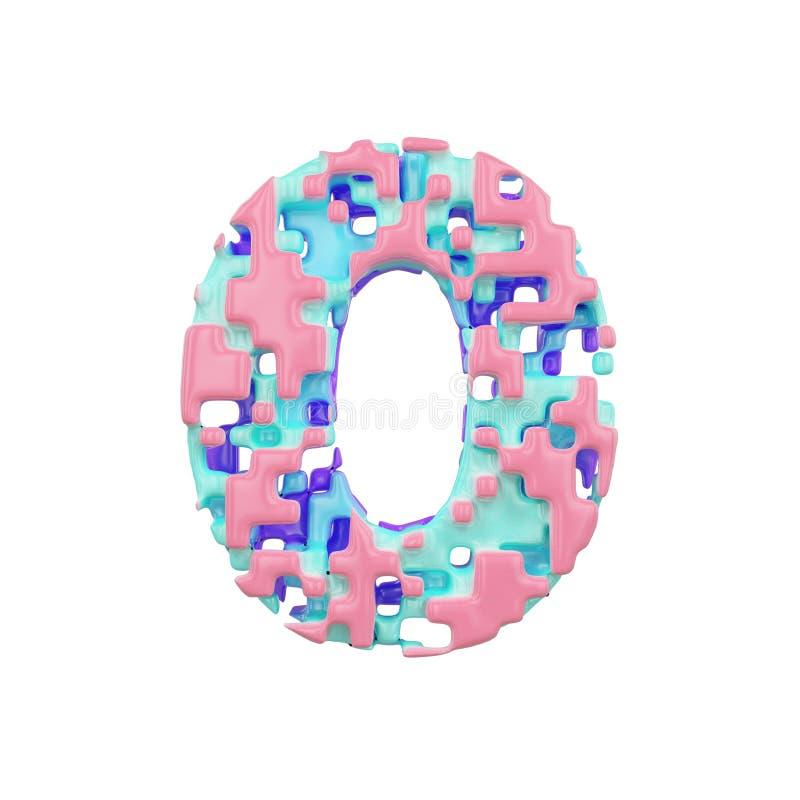 字母表第0 几何字体由立方体块做成 3d在空白背景回报查出 皇族释放例证