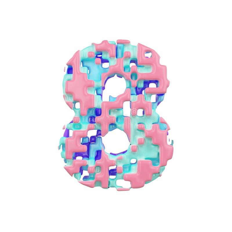 字母表第8 几何字体由立方体块做成 3d在空白背景回报查出 向量例证