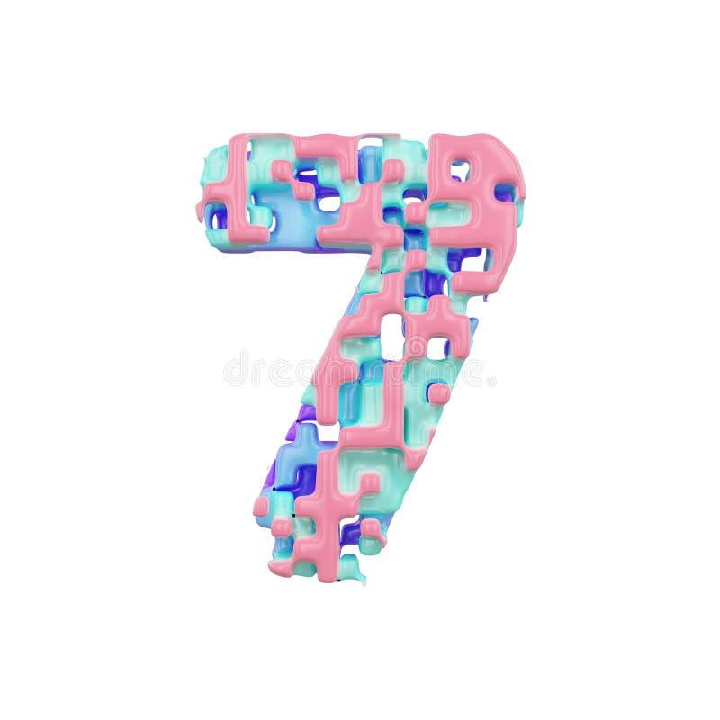 字母表第7 几何字体由立方体块做成 3d在空白背景回报查出 库存例证
