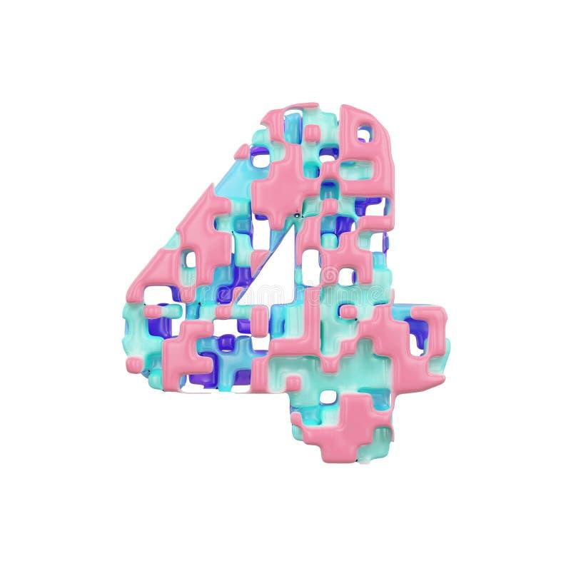 字母表第4 几何字体由立方体块做成 3d在空白背景回报查出 皇族释放例证