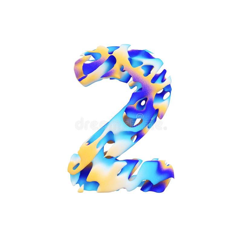 字母表第2 脏的液体异乎寻常的热带字体由颜色油漆做成绘画的技巧  3d在空白背景回报查出 向量例证