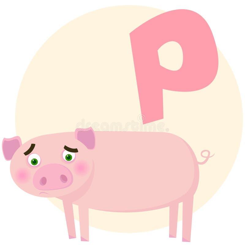 字母表英语猪 皇族释放例证