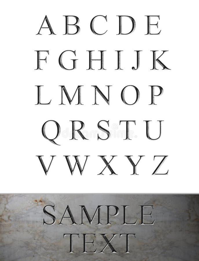 字母表被刻记的大理石 免版税库存图片
