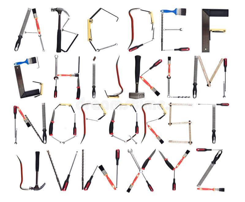 字母表被形成的工具 免版税库存图片
