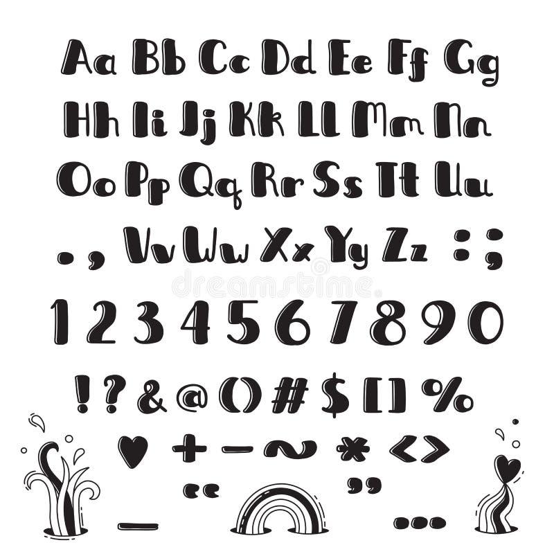 字母表被画的现有量 大写字母、小写、数字和标志在乐趣动画片样式 向量例证