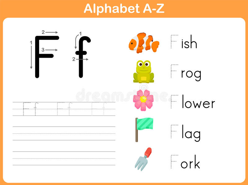 字母表追踪的活页练习题 库存例证