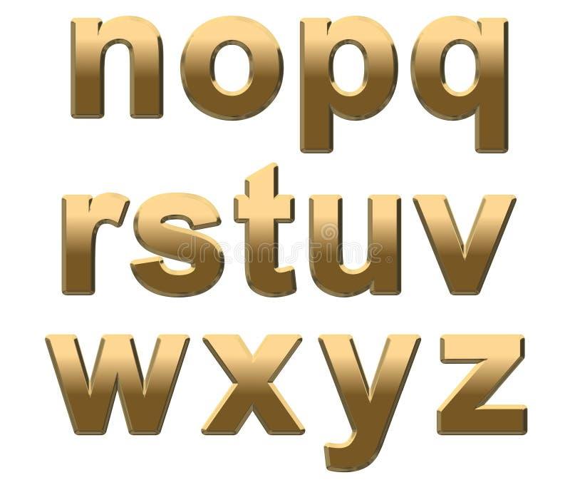 字母表金子在小写n空白z上写字 库存例证