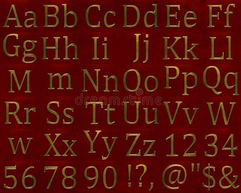 字母表金子在金属上写字 皇族释放例证