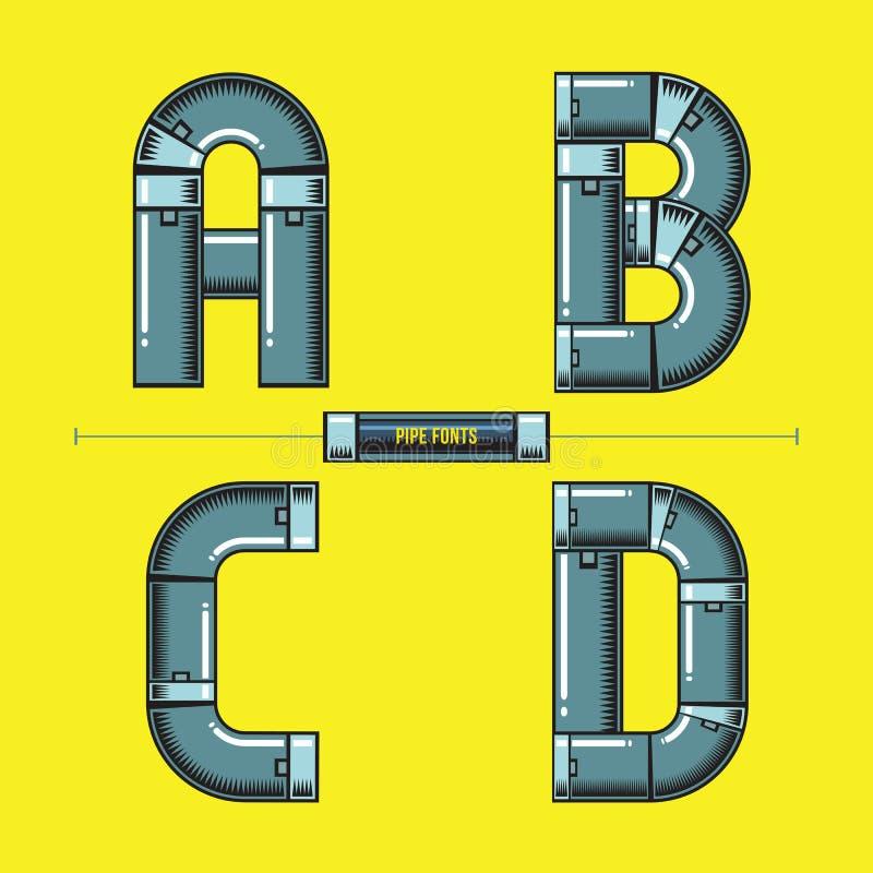 字母表金属用管道输送在集合ABCD字体可笑的传染媒介的样式 库存例证