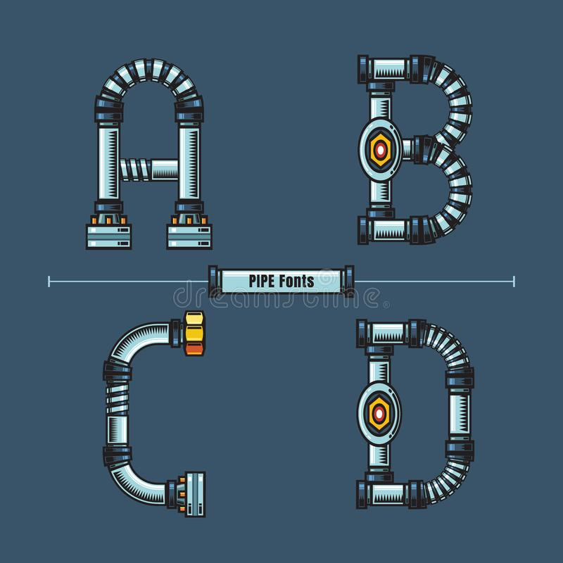 字母表金属用管道输送在集合ABCD的样式 向量例证