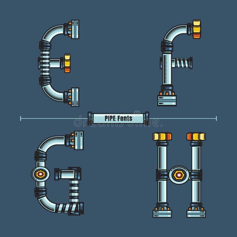 字母表金属用管道输送在集合EFGH字体可笑的传染媒介的样式 向量例证