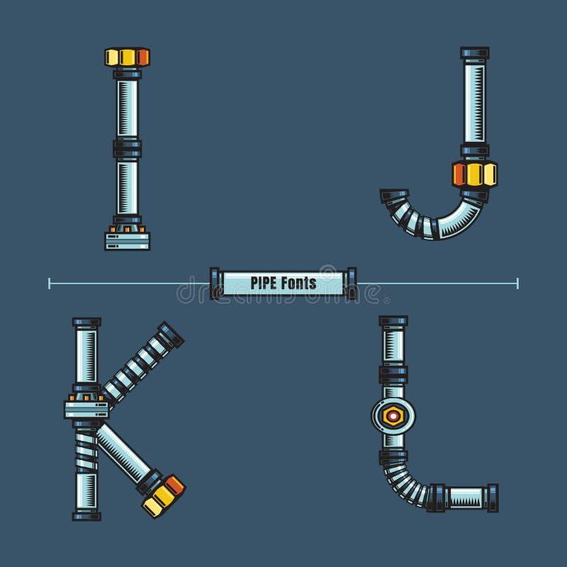 字母表金属用管道输送在集合IJKL字体可笑的传染媒介的样式 皇族释放例证