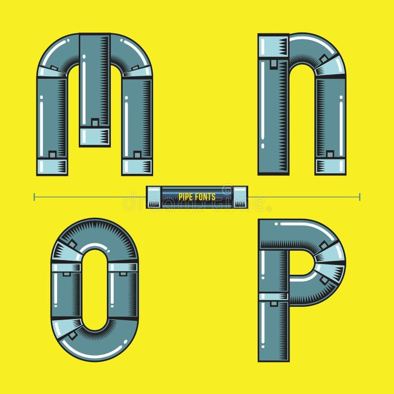 字母表金属用管道输送在集合MNOP字体可笑的传染媒介的样式 库存例证
