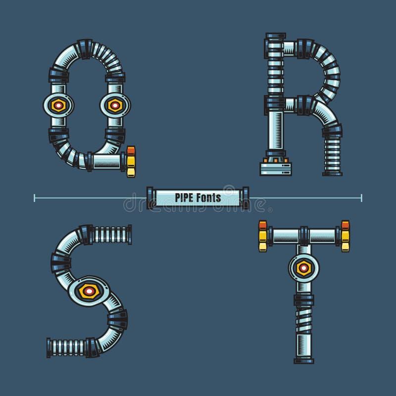 字母表金属用管道输送在集合QRST字体可笑的传染媒介的样式 向量例证