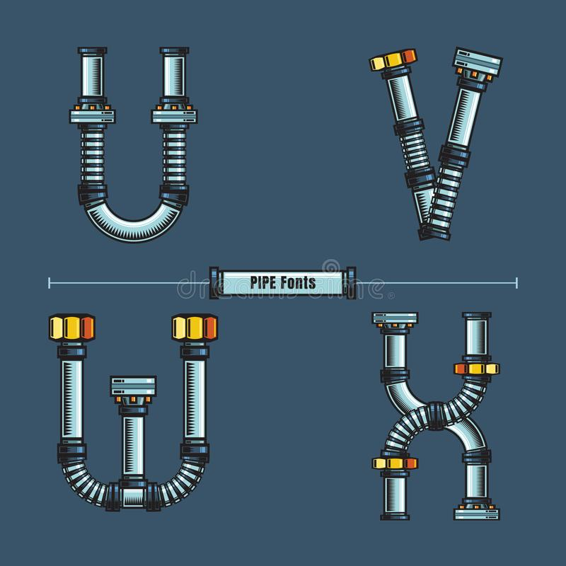 字母表金属用管道输送在集合UVWX的样式 库存例证