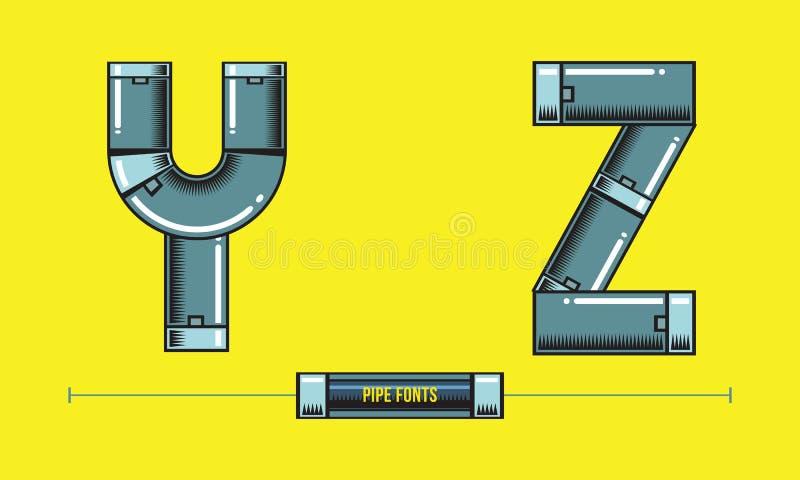 字母表金属用管道输送在集合YZ字体可笑的传染媒介的样式 皇族释放例证