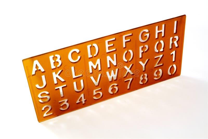 字母表钢板蜡纸 图库摄影