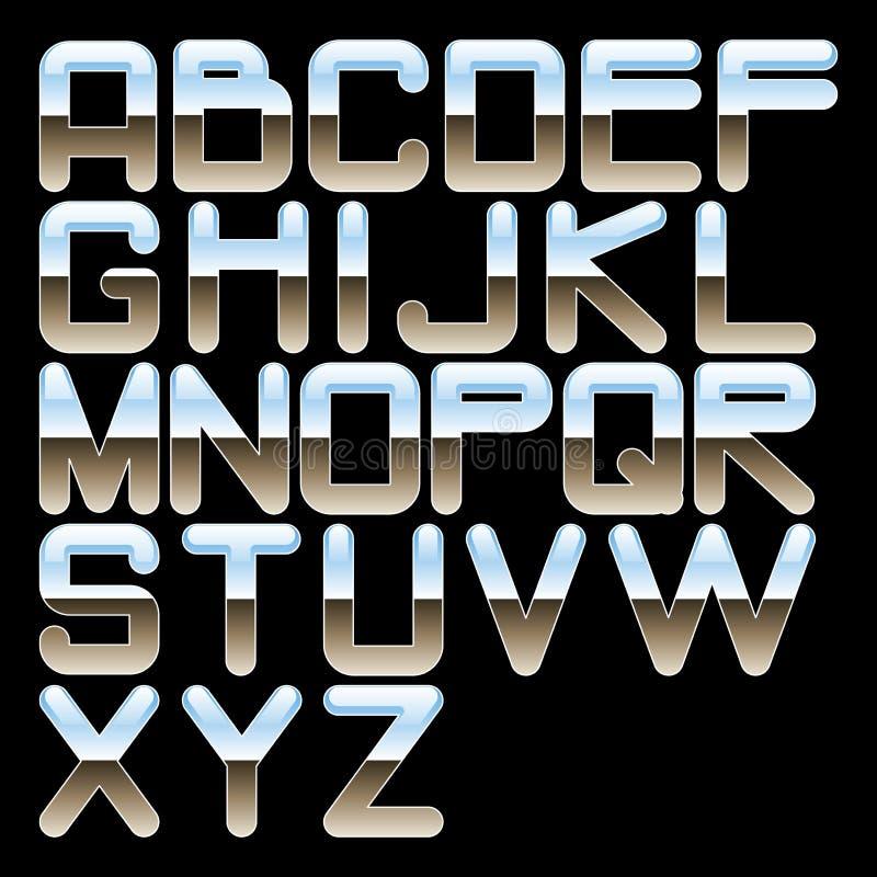 字母表镀铬物 皇族释放例证