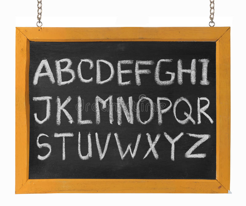 字母表黑板资本英国信函 免版税库存照片