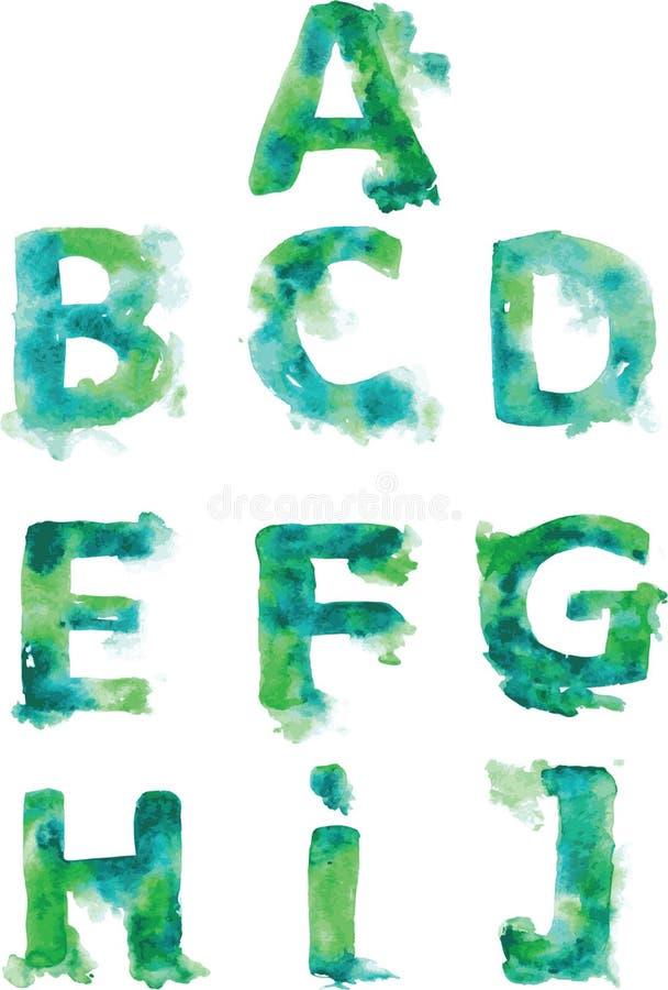 字母表,手画青绿色和绿松石树荫在wh 向量例证