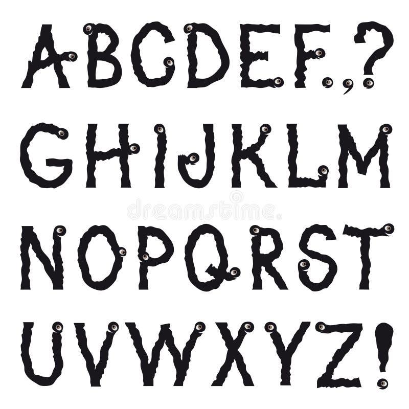 字母表 动画片虚构的动物摇晃地爬行的线描 向量例证
