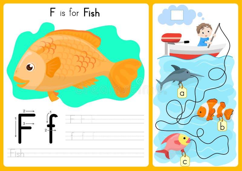 字母表A-Z辨别目标和难题活页练习题、锻炼孩子的-例证和传染媒介 向量例证