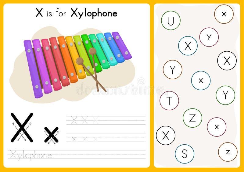 字母表A-Z辨别目标和难题活页练习题、锻炼孩子的-例证和传染媒介 库存例证